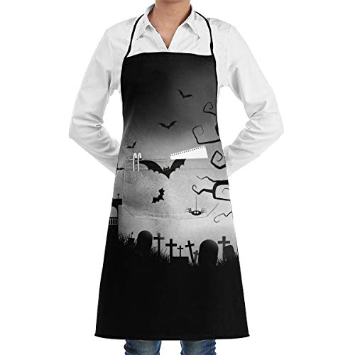 Cartoon Spooky Halloween Adjustable Bib Apron Waterdrop Resistant with 2 Pockets Cooking Kitchen Aprons for Women Men Chef -