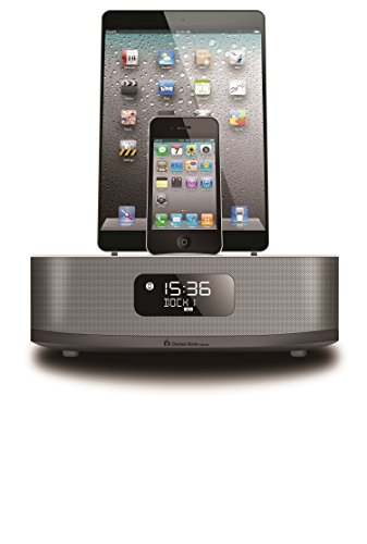 Chelsea Home Imports Apple Certified 3 in 1 Dual Docking 30 Pin & Lightning iPod / iPhone / iPad Air or Mini Alarm Clock Speaker Dock with Bluetooth, FM Radio and 2 Alarm Clock Functions. Charging Android based phones or devices.