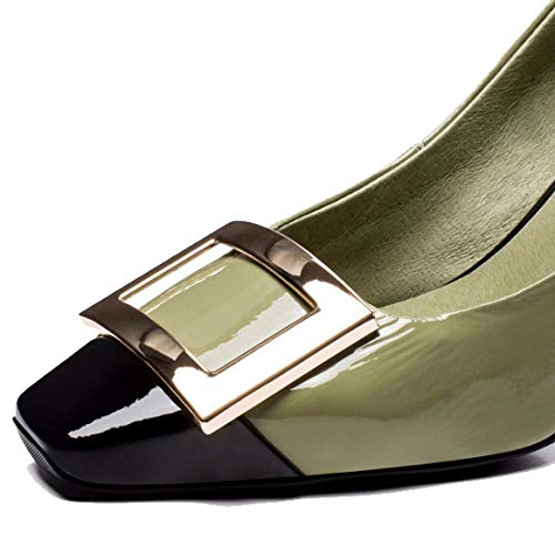 talon noir chaussures simple pour femmes vert tête haut Zpedy élégance dos avec mode carrée 8qCOnB