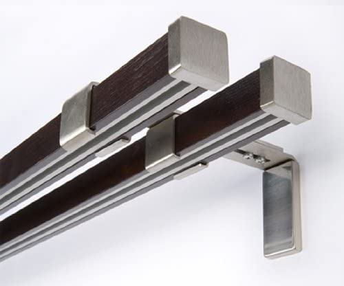 Mdekor Innenlauf Gardinenstange 2 Laufig Holz Stahl Stange 200 Amazon De Kuche Haushalt