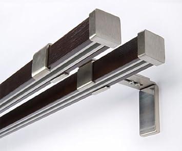 Innenlauf Gardinenstange 2 Läufig Holz Stahl Stange 400