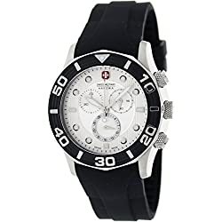 Swiss Military Hanowa Men's Oceanic 06-4196-04-001-07 Black Silicone Swiss Chronograph Watch with Silver Dial
