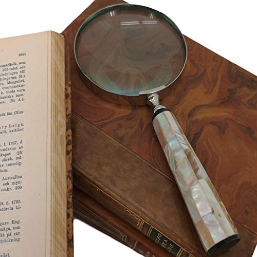 Dark Colour Mother of Pearl Handle Magnifying Glass 22cm Long