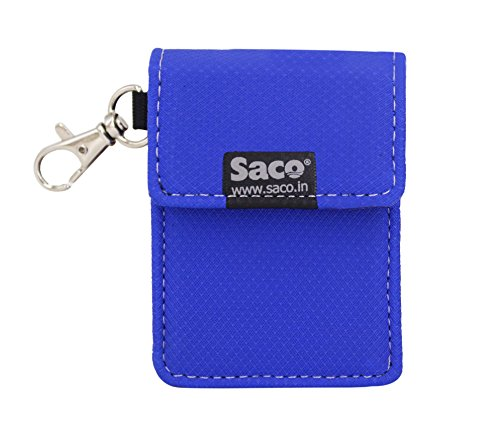 Saco Earphone Carrying Keychain Holder Case Pouch – Multi Purpose Pocket Storage Travel Organizer for Earphone, Pen Drives, mp3 Player – (Blue)