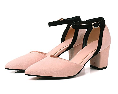 Sandale Damen Blockabsatz Pumps Kontrastfarbe Zehen Aisun Spitze Knöchelriemchen Rosa B0qdp