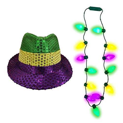 Nicky Bigs Novelties Mardi Gras Light Up Bulb Necklace and Sequin Fedora Hat, Multi, One Size -