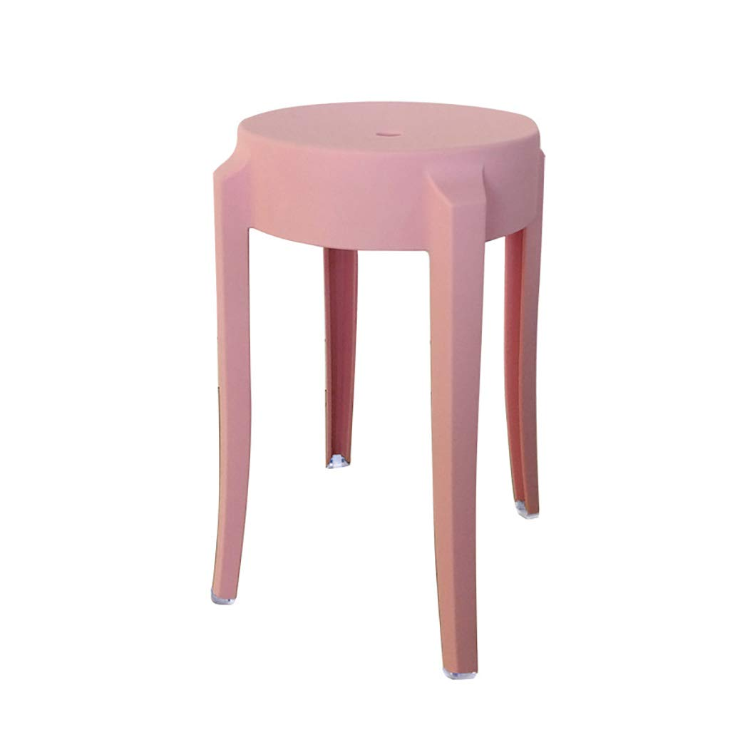 WENJUN Plastic Stool Transparent Thick Acrylic Dining Chair Crystal Stool Bar Stool Home Chair Creative High Stool High Stool (Color : Pink)