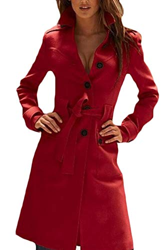 - Tengfu Women's Winter Single Breasted Slim Fit Wool Long Trench Coat with Belt (XL US 8-10, Red)