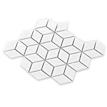 3DWhite glossy porcelain mosaic tiles,Diamond ceramic mosaic pattern design,Bathroon wall&floor/Kitchen wall decor tiles hand craft,EO38021 (Sample 12''x12''/piece)