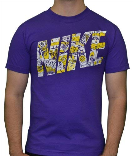 (Nike Sportswear Mens Loose Fit T-Shirt (Extra Large, Purple/White/Yellow))