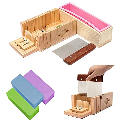 Sonita3008 Wood Soap Mold Wooden Cutter Box with Stainless Steel Blade Square Shape Cake Molds Making Tool