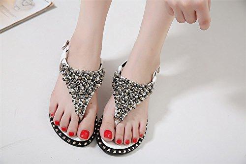 LIVY 2017 verano nuevas sandalias de cuentas de lujo zapatos de suela blanda con sandalias planas de los zapatos de moda Blanco