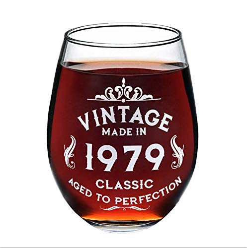 (1979 40th Birthday Wine Glass for Women and Men, Birtyday Gift, Any Anniversary Gift with 530 ml, Aged to Perfection Wine Glass [1 Pack])