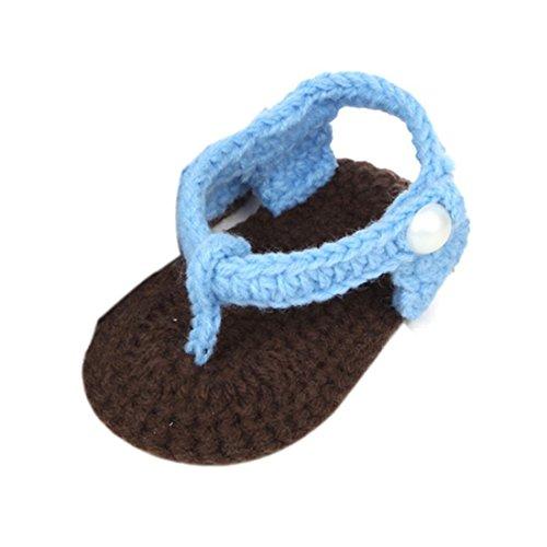 Voberry Baby Crib Crochet Photo Props Knit Clip Toe Flip Flop Shoes Sandal (Blue)
