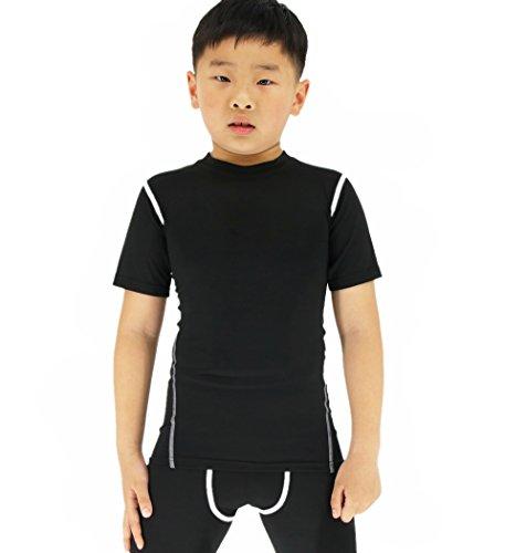 Football Black Practice T-shirt - Sanke Boy's Girl's Soccer Practice T-Shirt Sports Basic Tee Shirts Short Sleeve Black