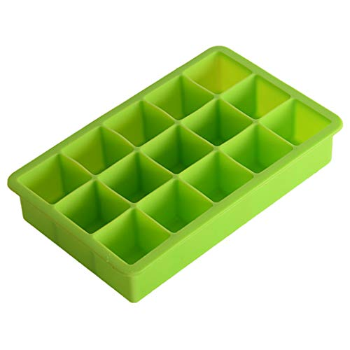 15 Ice Cube Mould,Fheaven Silicone Freeze Mold Bar Pudding Jelly Chocolate Maker Mold Ice Cube (Green)