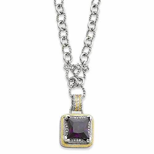 """16"""" Sterling Silver & Flash Gold-plated Fancy Square Purple CZ Necklace"""