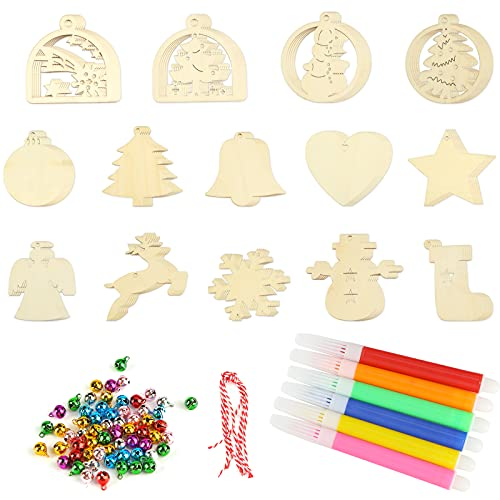 Koogel 70 Pcs Unfinished Christmas Wooden Ornaments,14 Styles Wooden Christmas Ornament Unfinished Blank Wood Slices for Decorate Christmas Tree Fireplace Windows