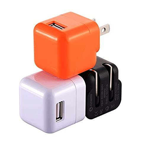 Wall Charger,Amemo 3 Pack Universal USB AC/DC 1.0A Travel/ Home Wall Charger Power Adapter with Foldable Plug for iPhone 6s/6s plus,iPad,Samsung Galaxy,Motorola,HTC,Other Smartphones and (Smartphone Wall Plug)