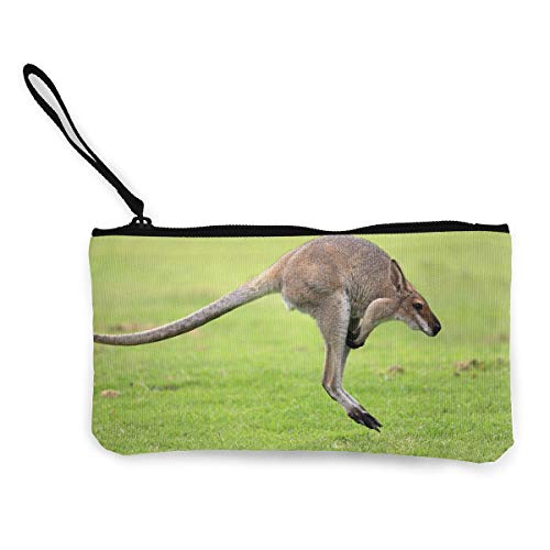 Oomato Canvas Coin Purse Funny Kangaroo Cosmetic Makeup Storage Wallet Clutch Purse Pencil Bag