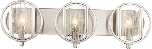 Minka Lavery Wall Light Fixtures 3063-84 Via Capri Bath Vanity Lighting, 3-Light 180 Watts, Brushed Nickel