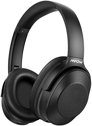 Mpow Hybrid Active Noise Cancelling Headphones Bluetooth Headphones Over EarHi-Fi Deep Bass CVC 6.0 Microphone Soft Protein Earpads Wireless Headphones 30H Playtime for TV Travel Work