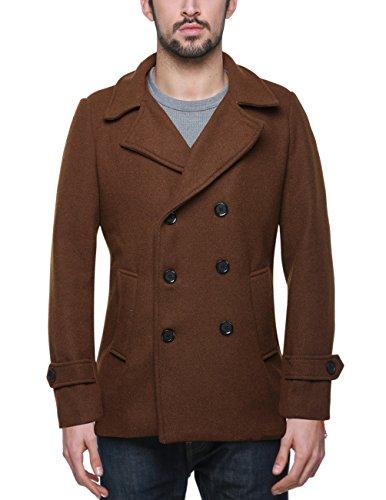 Match Mens Wool Blend Classic Pea Coat Winter Coats(010, Brown -