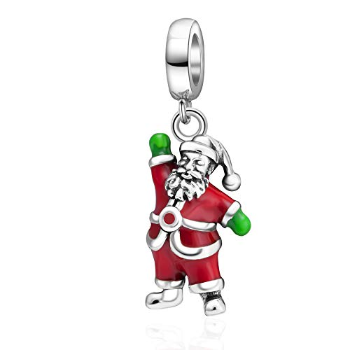 (SOUKISS SoulBeads Christmas Reindeer Charms 925 Sterling Silver Tree,Santa Claus,Stocking Decorations Charms Fits Bracelet (Santa Claus))