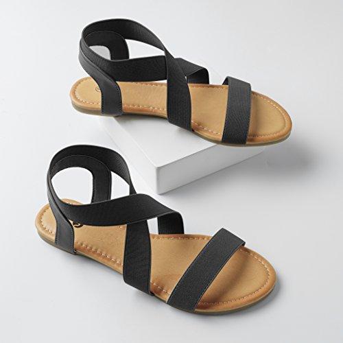 Elastic New Sandals Flat Black for Rekayla Women w0xq4S5SH