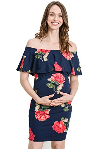 (Hello MIZ Women's Floral Ruffle Off Shoulder Maternity Dress - Made in USA (Small, Navy/Red Floral))