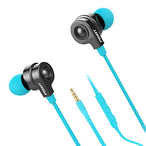 Price comparison product image Wired Earphones for Apple, Pisen G105 Hi-fi In-ear Tangle-free Flat In-Ear Headphone Earbuds with In-line Mic and volume, For iPhone7/6/6s/6 Plus/5/5c/5s, iPad Mini,iPad Mini, iPad Air, iPod(Blue)