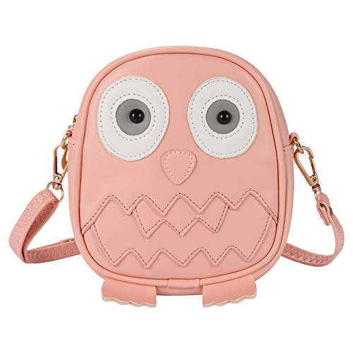 Kids Shoulder Bag Crossbody Purse Mini Cartoon Animal Preschool Messenger Handbag for Children Toddler Baby Girls DEEKEY (Owl Champagne)