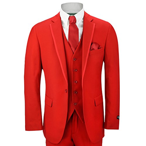 "Mens 3 Piece Red Fitted Classic Suit Wedding Prom Party Blazer Trouser Waistcoat[318-289B,Chest UK 40 EU 50,Trouser 34"",Red] from XPOSED"