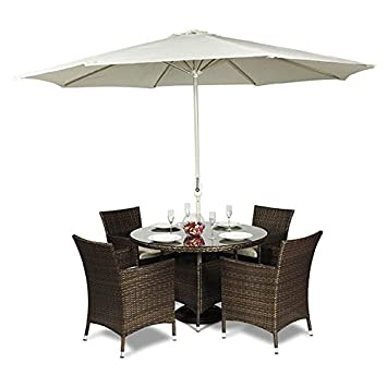 Attractive Savannah Rattan Round Glass Dining Table And 4 Chairs + Seat Cushions +  Umbrella / Parasol