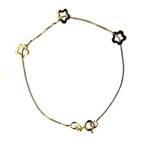 18K yellow gold open flower bracelet 5.8 inch by Amalia (Image #1)