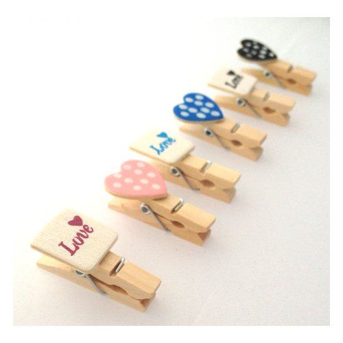 Love Heart Pin - LWR Crafts Wooden Mini Clothespins Love and Heart 24 Pieces and Jute Cord 8 Ft
