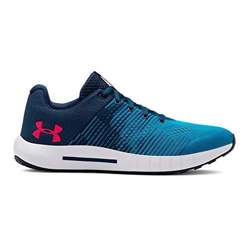 (Under Armour Boys' Grade School Pursuit Graphic Sneaker, Petrol Blue (400)/Red Rage, 3.5)