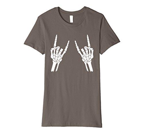 Womens Halloween Skeleton Rocker Graphic Premium T-Shirt Large Asphalt
