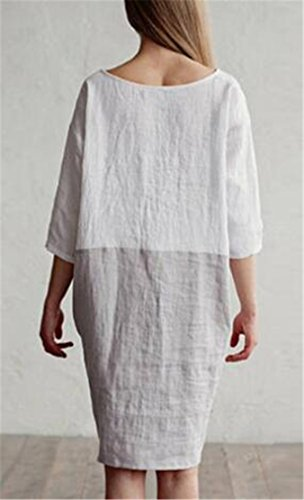 Jaycargogo Femmes Mode Couture Couleur Manches Moitié Encolure Ras Du Cou En Coton Lin Robes De Coupe Ample Blanc