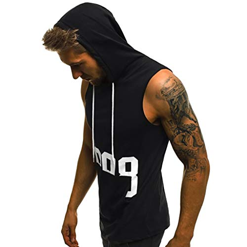 - Men Fitness Muscle Print Sleeveless Hooded Bodybuilding Pocket Tight-drying Tops