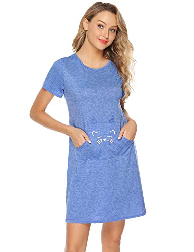 Cat Sleepshirt - Aibrou Women's Nightgown Cat Print Sleep Shirt Short Sleeve Cotton Nightshirt Blue