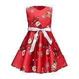 AYOMIS Flower Girl Christmas Ruffles Dress Kids Party Cartoon Wedding Xmas Tutu Dresses 2-9 Years(Xmas Red-3,4-5Y)