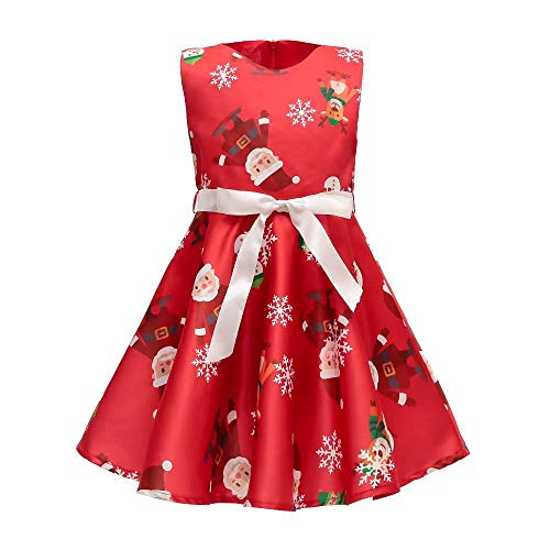 AYOMIS Girls Cotton Casual Sleeve Cartoon Stripe Dresses 2-9 Years(Xmas Red-3,3-4Y)