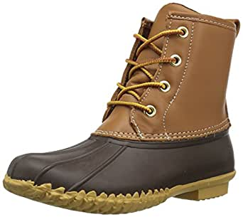 206 Collective Women's Rainier Duck Boot Rain, Tan/Navy, 5 B US