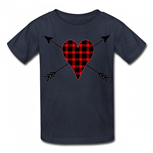 LNZUYD Buffalo Plaid Heart Trendy Tshirt Cotton T-Shirts Authentic Boy Girl Tee Navy