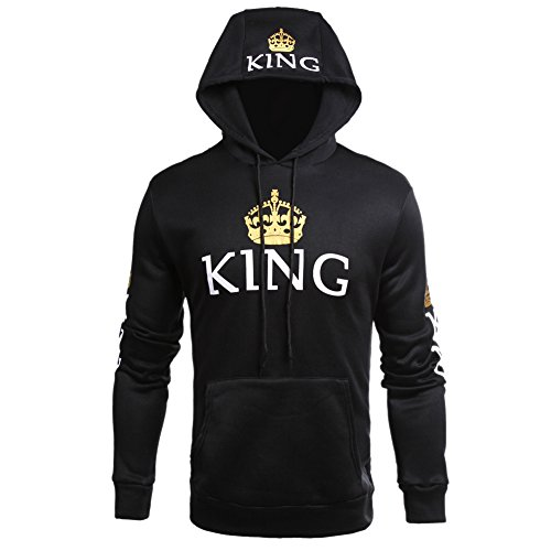 ZZhong+Men%27s+King+Printed+Drawstring+Hoodie+Sweatshirt+Couple+Matching+Top+Black+L