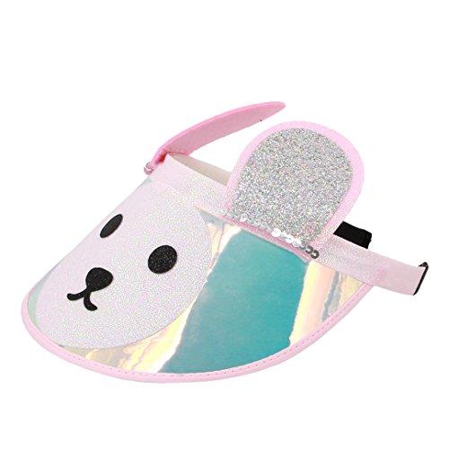 Surkat Kids Cute Bear Sun Visors Hologram Wide Brim UV Protective Sportswear Visors Sunhat(Pink) by Surkat