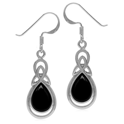 Silvershake Genuine Pear Shape Black Onyx 925 Sterling Silver Triquetra Celtic Knot Drop Dangle Hook Earrings Black Onyx Pear Shape