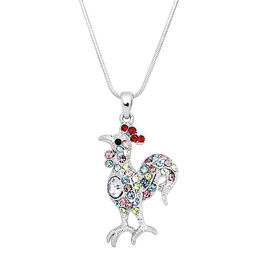 Lola Bella Gifts Crystal Rooster Pendant Necklace with Gift Box