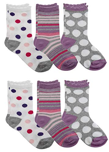 Country Kids Baby Girls' Polka Dotty Stripe Cotton Crew Socks, Pack of 6, Fits 12-24 months (shoe size 3-7.5), Pink/Purple/Gray